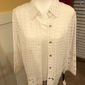 NWT Alfred Dunner 2pc top lace border size 10